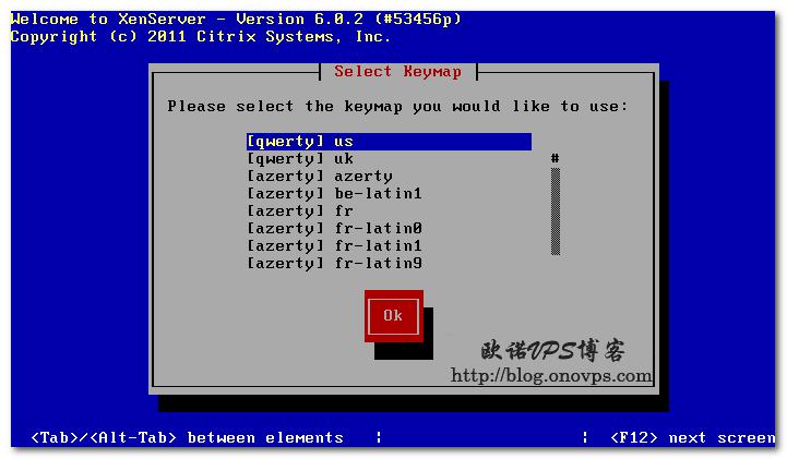 Xenserver安装选择键盘.png